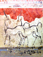 Minoan Antelope Fresco Art from Akrotiri, Santorini, Greece