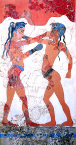 Minoan Boxing Boys Fresco from Akrotiri, Santorini, Greece