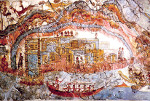 Minoan Frieze Admirals Flotilla Fresco Thera Scene, Akrotiri, Santorini, Greece