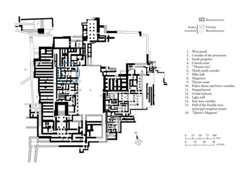 Map of Location where the Minoan Dolphins Fresco was Discovered, West Wing, Above the Throne Room, Knossos, Crete, Greece