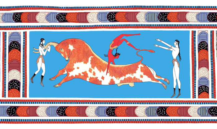Minoan Bull Leaping Toreador Fresco, Precision Restoration, Knossos, Crete, Greece
