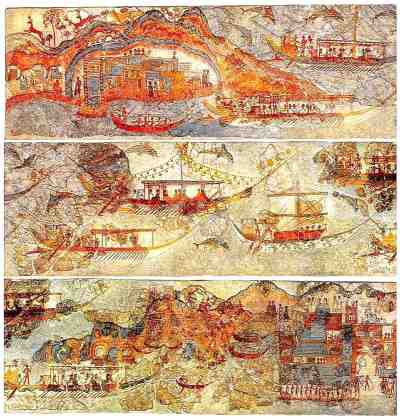 Minoan Miniature Frieze Admirals Flotilla Fresco, Three Panels, Akrotiri, Santorini, Greece