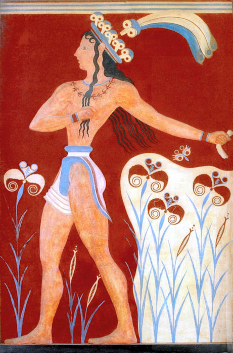 Minoan Priest King Feathered Prince of Lilies Fresco, Knosso, Crete, Greece