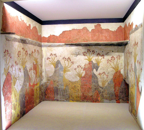 Minoan Spring Fresco's South, West, & North Walls of Room 2 in the Delta Complex, Akrotiri, Santorini (Thera), Greece
