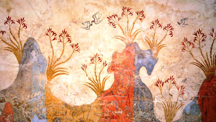 Minoan Spring Fresco West Wall Swallows Scene, Precision Reproduction, Akrotiri, Santorini, Greece